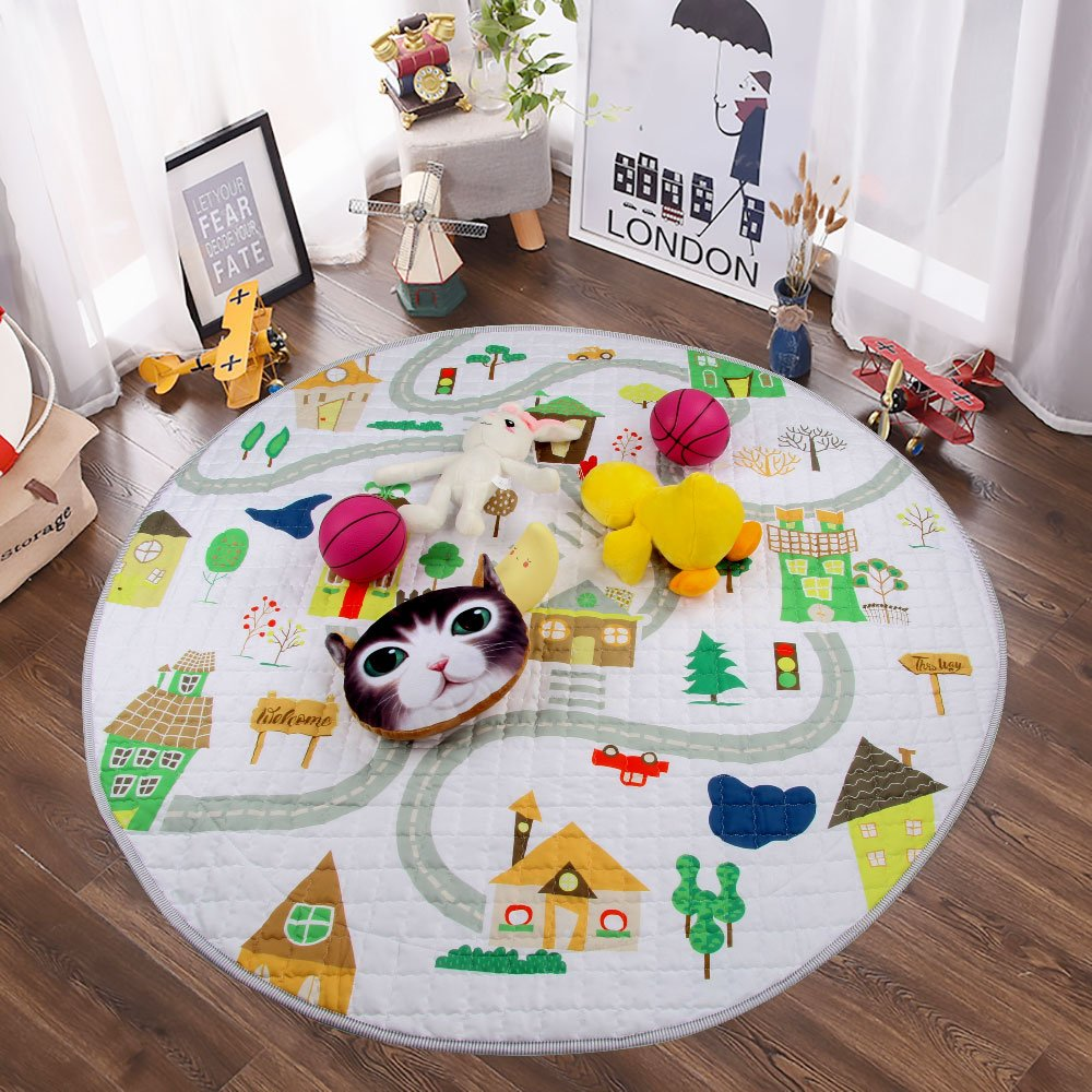 Winthome Baby Kids Play Mat Foldable Toys Storage Organizer Children Play Rugs with 59 Inches Large Diameter Soft and Washable(house) A322