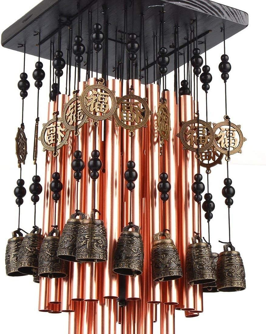 fengshuisale Outdoor Indoor 28 Metal Tube Wind Chime with Copper Bell Large Windchimes for Patio Garden Terrace W Red String Bracelet W3089