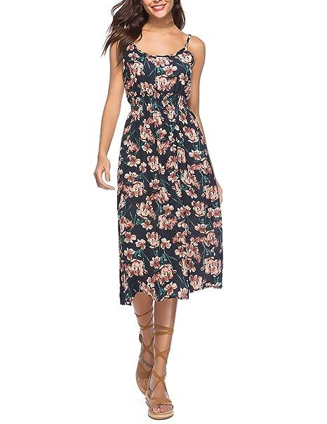 Vestidos Mujer Chic Elegantes Vintage Hippies Boho Vestidos Largos Casual Flores Impresa Sin Mangas Verano Playa