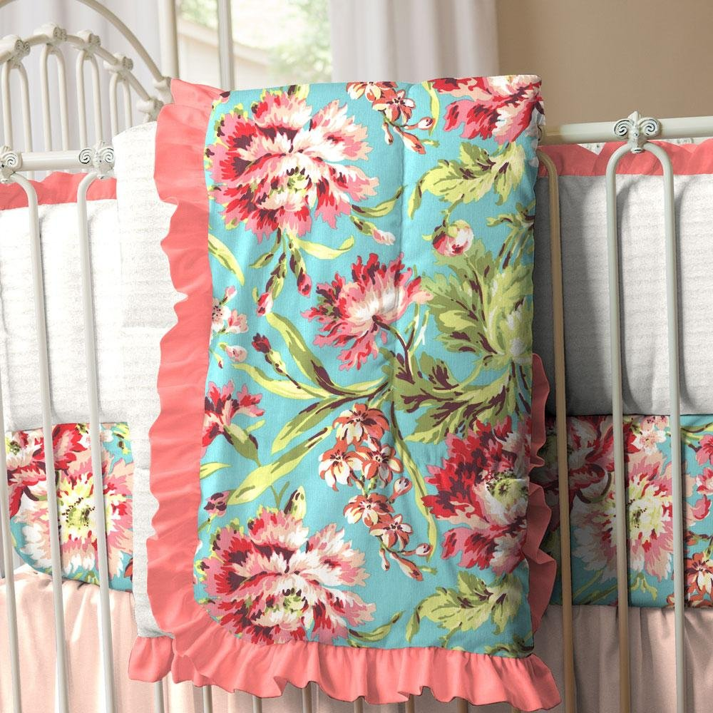 Carousel Designs Coral and Teal Floral Crib Comforter by Carousel Designs
