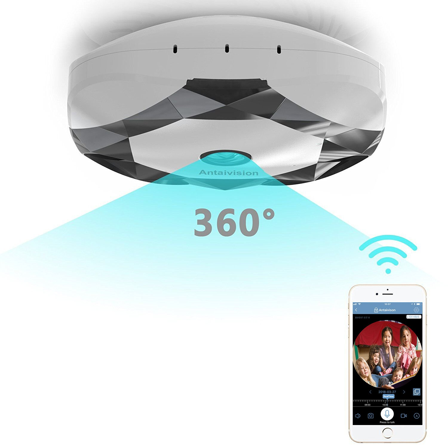 Antaivision 960P WiFi IP Security Home Network Dome Camera for Home Surveillance, Fisheye 360° Indoor Dome with Night Vision Motion Detection 2-Way Talking,Watching The Whole Room Without Blind Area.