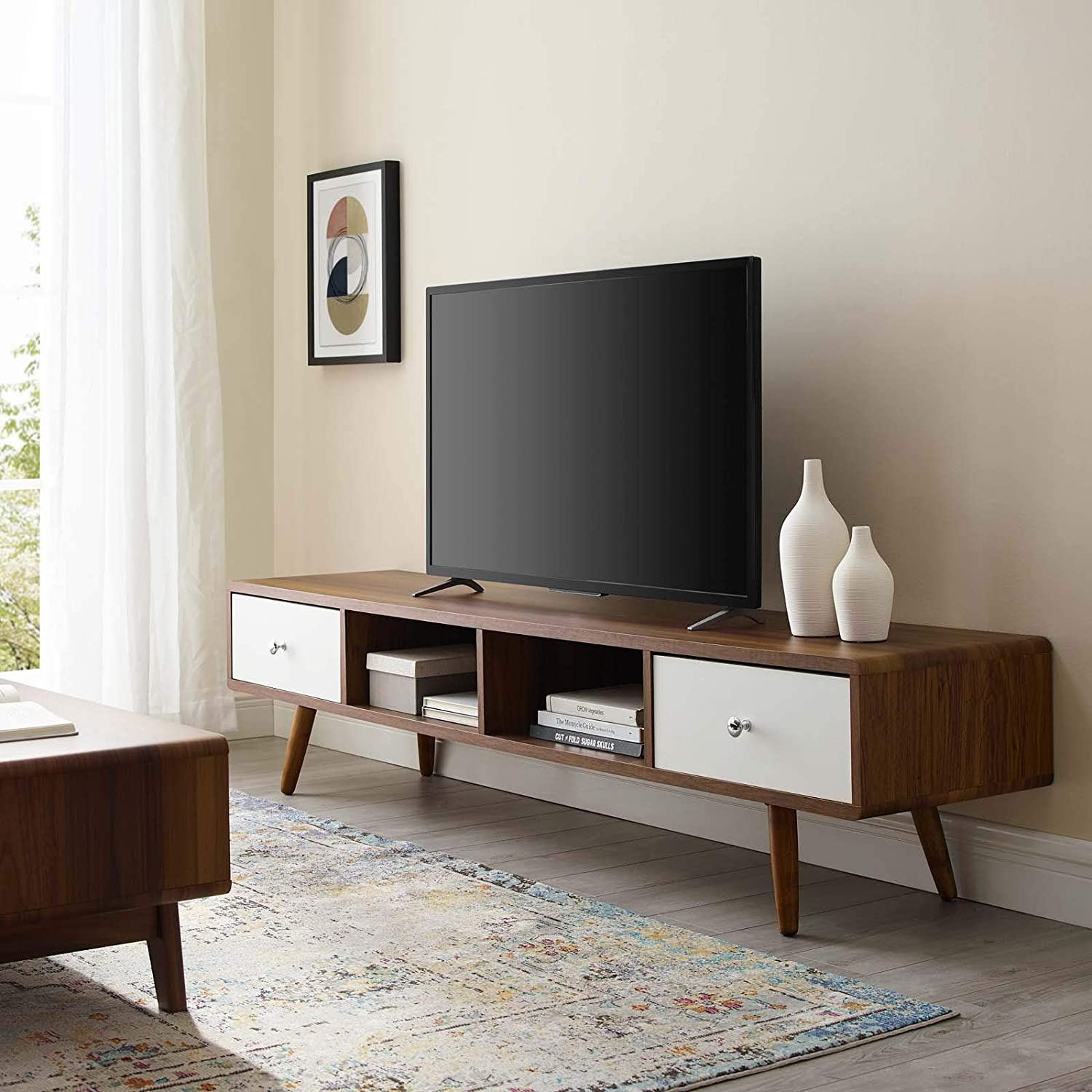 """Modway Transmit 70"""" Mid-Century Modern Low Profile Media Console Entertainment TV Stand in Walnut White"""