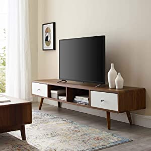 "Modway Transmit 70"" Mid-Century Modern Low Profile Media Console Entertainment TV Stand in Walnut White"