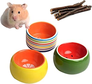 3-Piece Hamster Bowl, Cilkus Ceramic Guinea Pig Water Bowl Small Animal Food Dish for Syrian Hamster Rabbit Gerbil Chinchilla Hedgehog Sugar Glider Rat