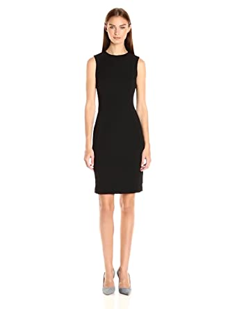 231cd814 Calvin Klein Women's Scuba Crepe Sleeveless Princess Seam Sheath Dress,  Black 16, ...