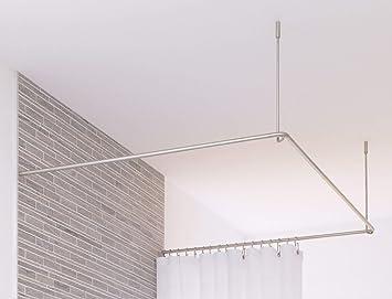 PHOS Edelstahl Design, DSU900-900, Duschvorhangstange U-Form, 90 x ...