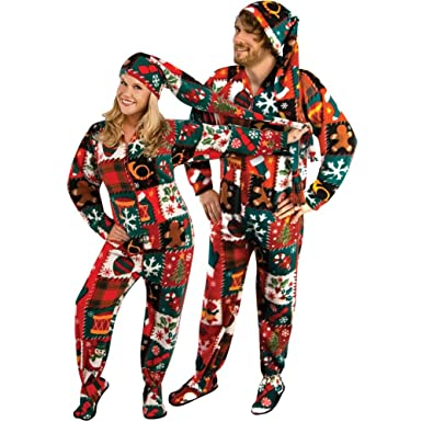amazon com ugly christmas sweater fleece drop seat footed pajamas