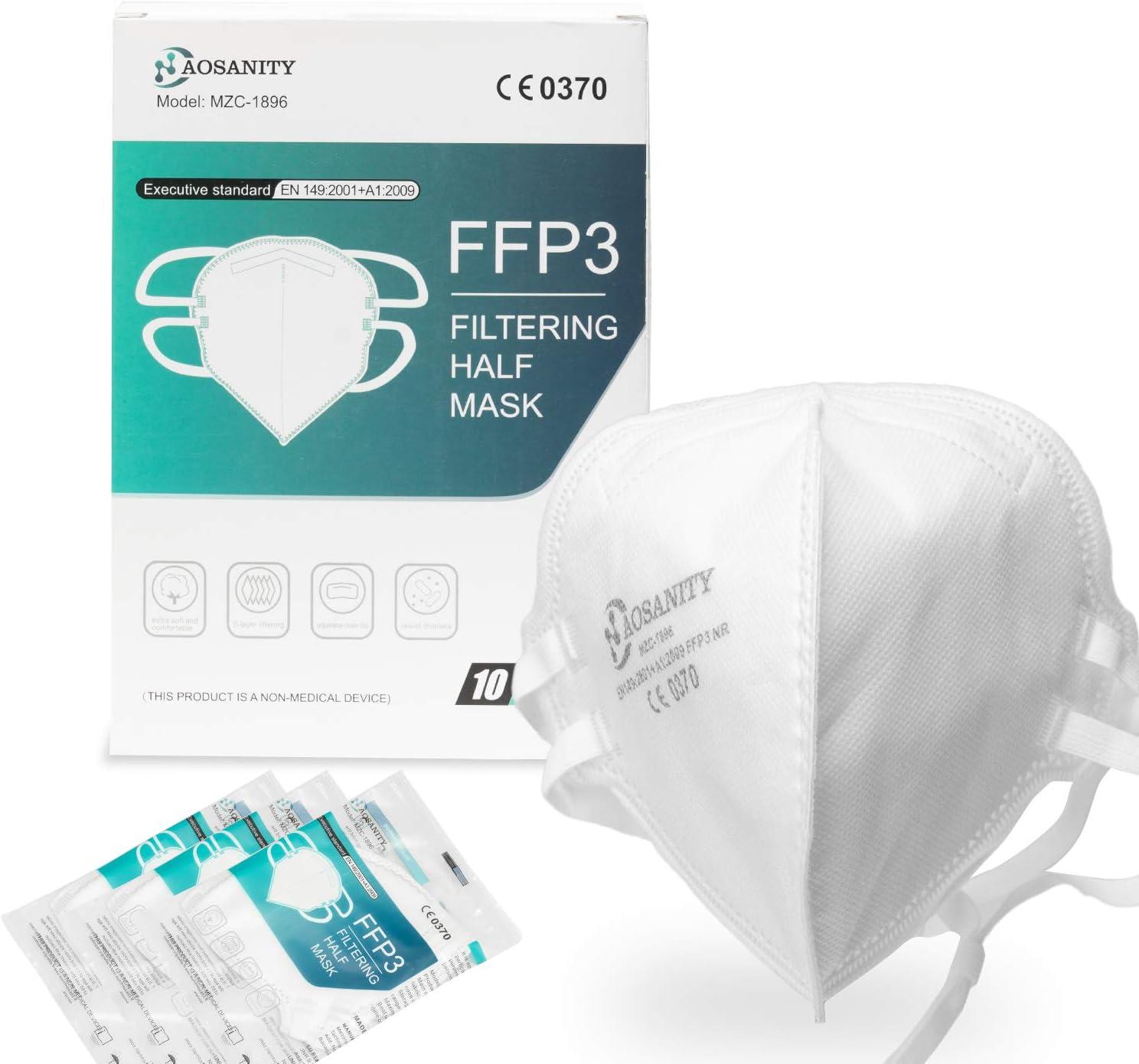 FFP3 mascarilla de protección de la Salud mascarilla Protectora, mascarilla de protección respiratoria de 5 Capas, mascarilla para Adultos protección Facial Boca-Nariz con Tela 10 Piezas A01