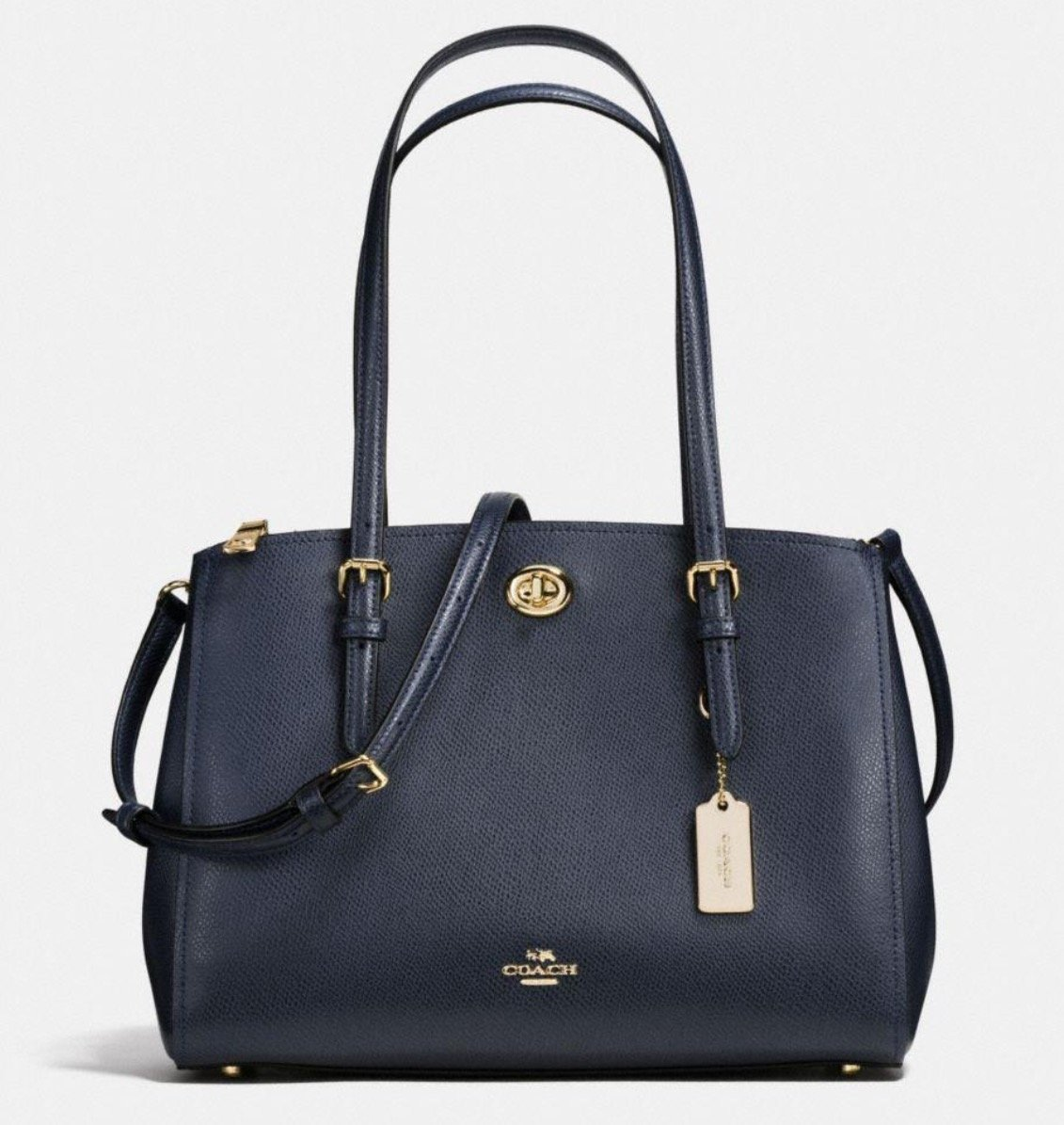 Coach Turnlock Carryall 29 in Crossgrain Leather Style No. 37782 (Navy) by Coach