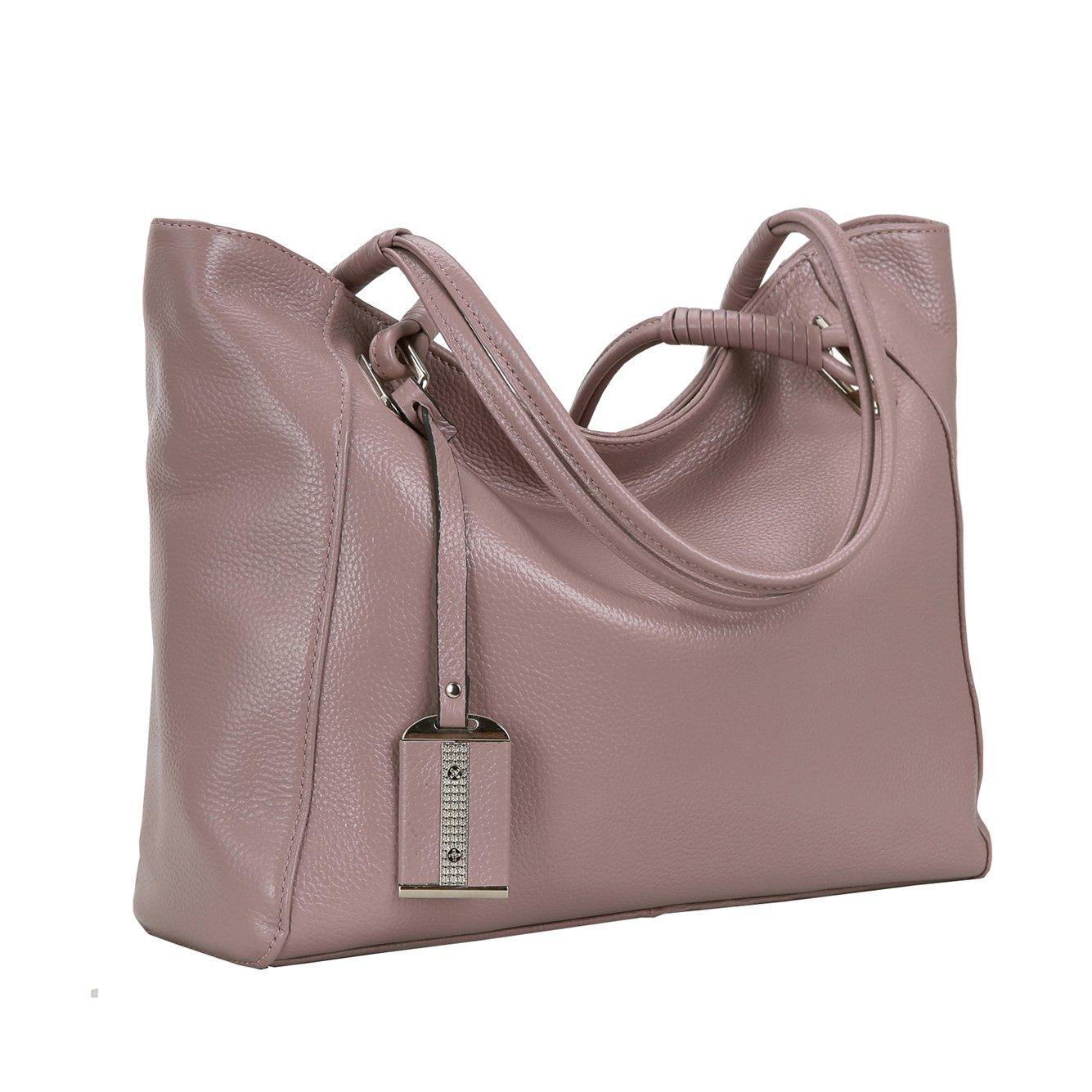 Kenoor Leather Shoulder Bags Tote Top Handle Work Bag Handbag Satchel Purses (Lilac)