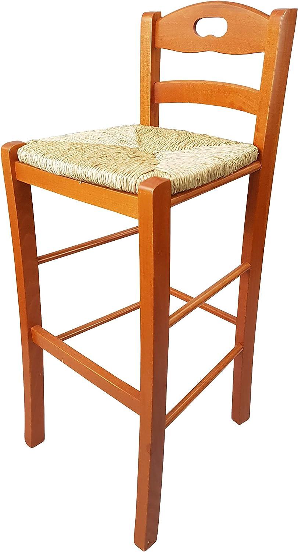 Ciliegio, Seduta Paglia qualit/à Tot/ò Piccinni Sgabello Legno Sedia Snack Alto 67 cm con Schienale Poggia Piedi