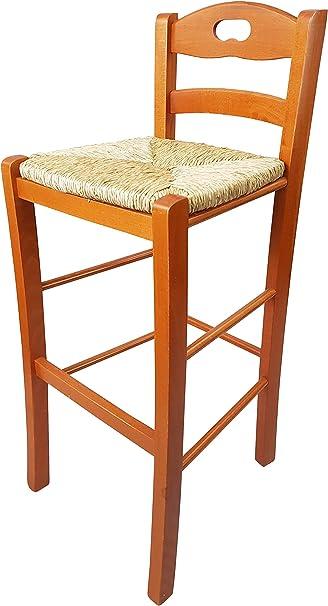 Totò Piccinni Sgabello Legno Sedia Snack Alto 67 cm con Schienale, Poggia Piedi, qualità (Ciliegio, Seduta Paglia)