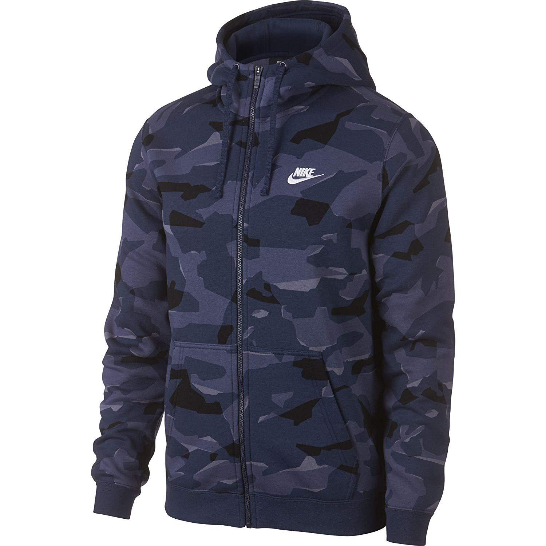 Nike Mens Club Camo Basketball Full Zip Hoodie Midnight NavyWhite AJ2105 410 Size Small
