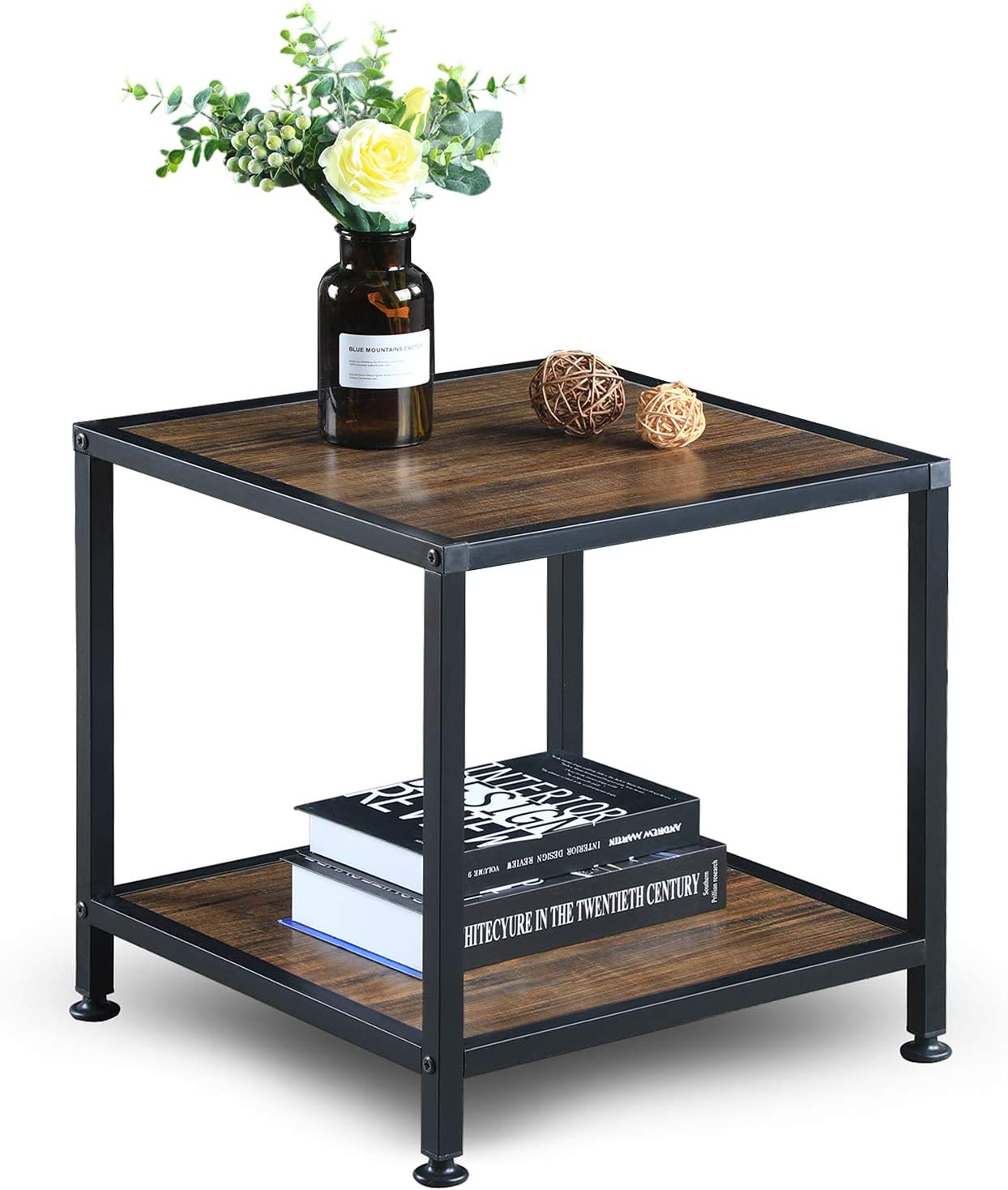 GreenForest End Table with Storage Shelf 2 Tier Wood and Metal Side Table for Living Room Bedroom, Easy Assembly, Walnut