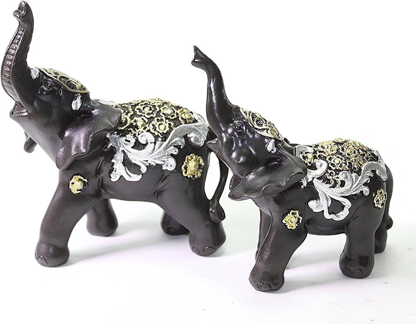 Set of 2 Feng Shui Black Elephants Trunk Statue Lucky Figurine Gift Home Decor