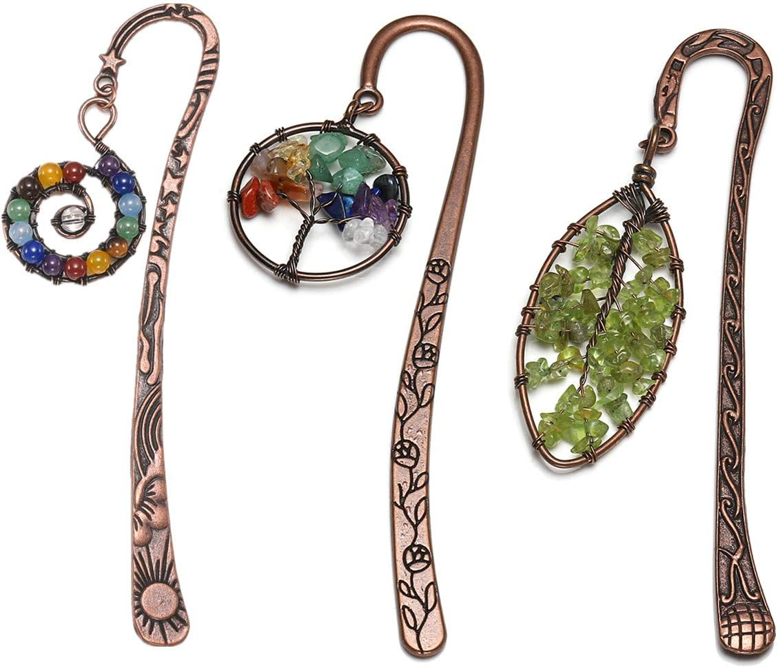 Rose Rebe Lebensbaum CrystalTears Chakra Lesezeichen Metall Bookmark vintage 7 Chakra Lebensbaum Stein handgefertigt Buch Zubeh/ör