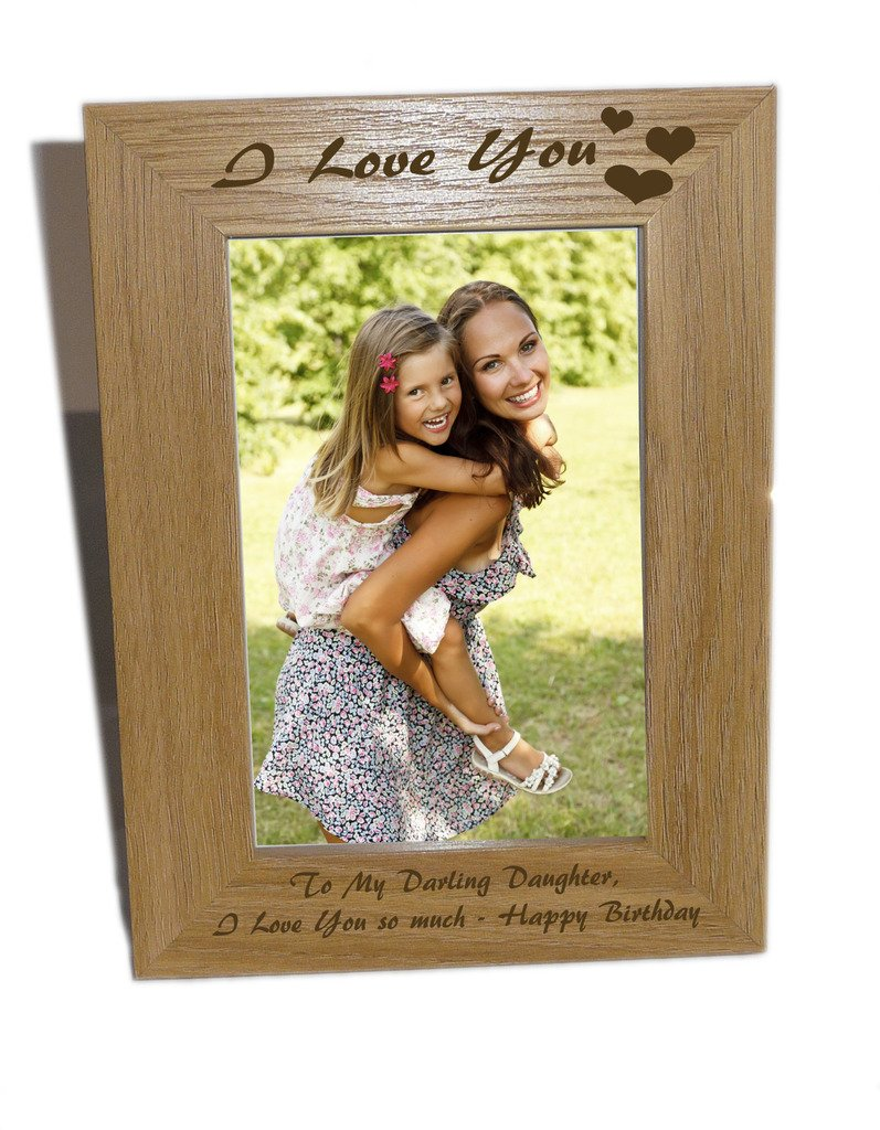 I Love You With Heart Design Wooden Photo Frame 6x8 - Free Engraving