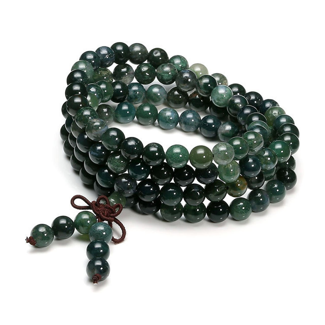 Top Plaza 8mm Tibetan Buddhist Moss Agate Reiki Healing Gemstone Beads 108 Mala Prayer Meditation Rosary Wrap Bracelet Necklace