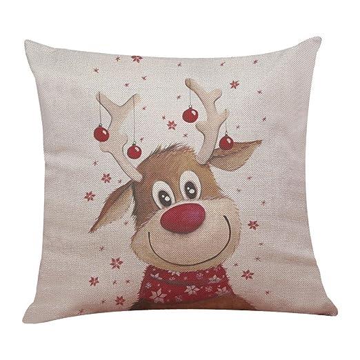 Fundas De Cojines, Xinantime Decoración para el hogar Funda de Almohada de Lino de algodón de Navidad Funda de cojín de sofá 45 x 45 cm (F)