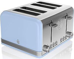 Swan Retro 4 Slice Toaster, Blue