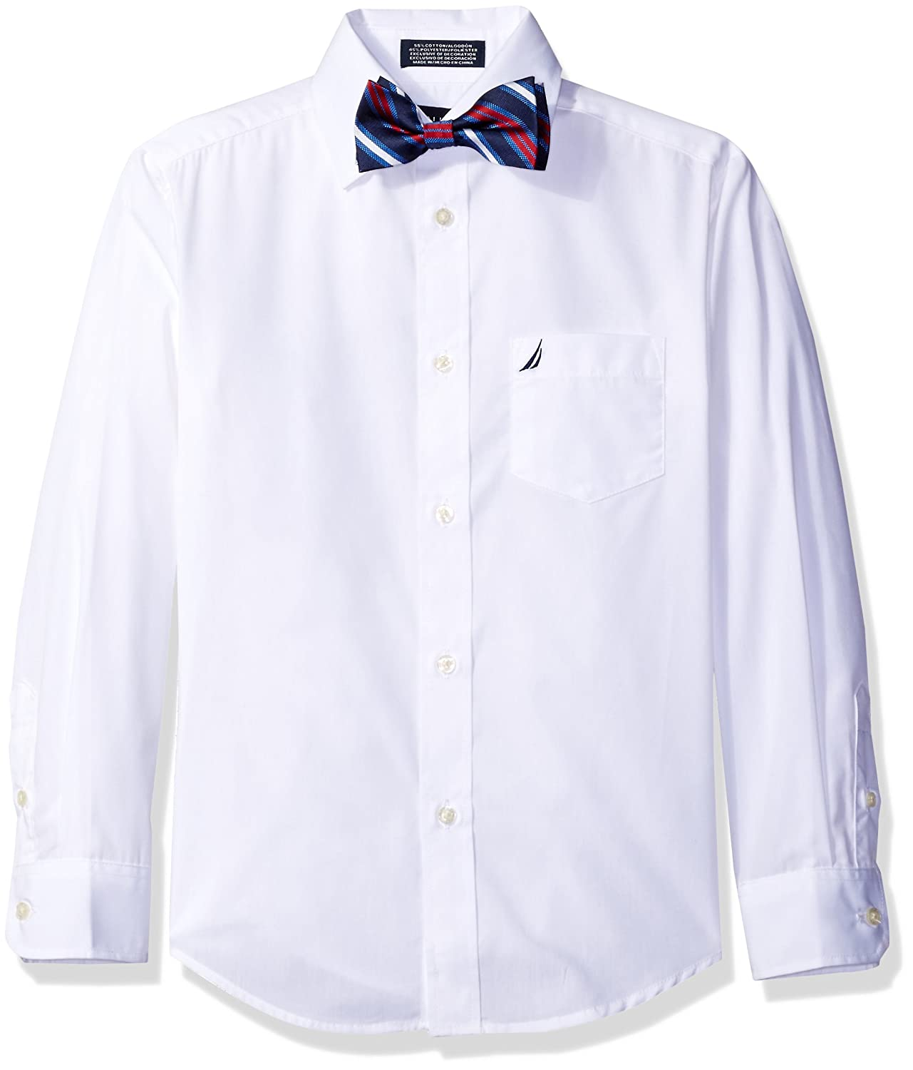 Nautica Boys' Long Sleeve Solid Shirt with Bow Tie N473096W