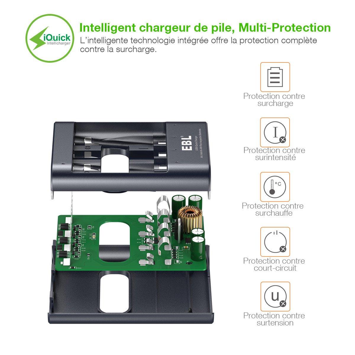 EBL iQuick chargeur de pile rechargeable AA/AAA 40min de charge pou une pile avec lot de 4 piles rechargeables AAA 1100mAh