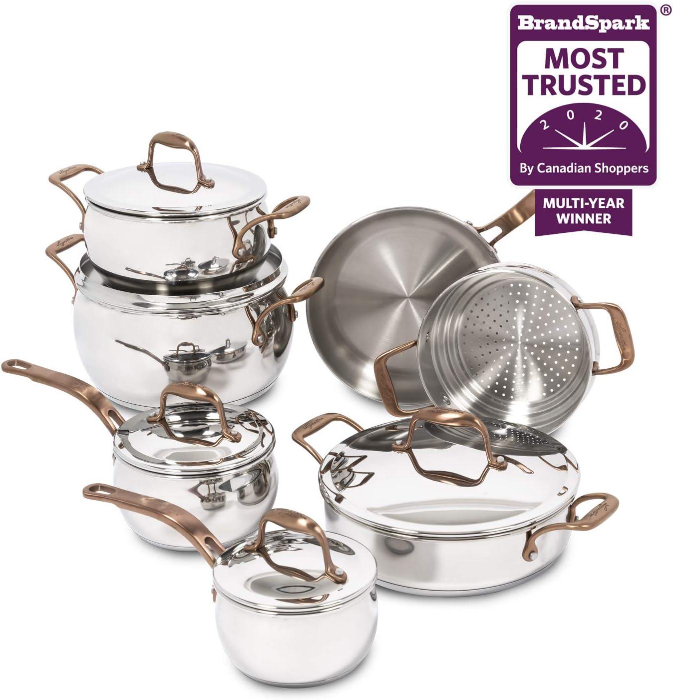 Lagostina Premium Bronze Elegance Stainless Steel Cookware Set