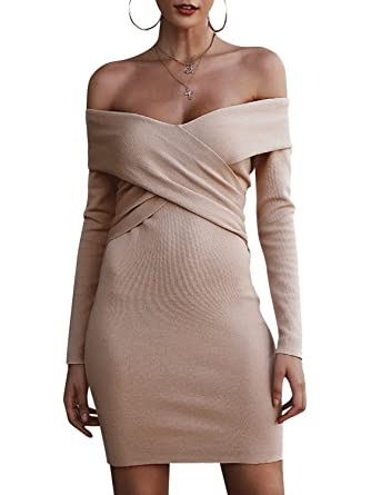 de9b6f5abd5 BerryGo Women s Sexy Off Shoulder Wrap V Neck Long Sleeve Bodycon Sweater  Mini Dress Apricot