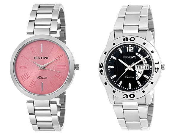 Bigowl Wrist Watch Couple Combo for Men and Women