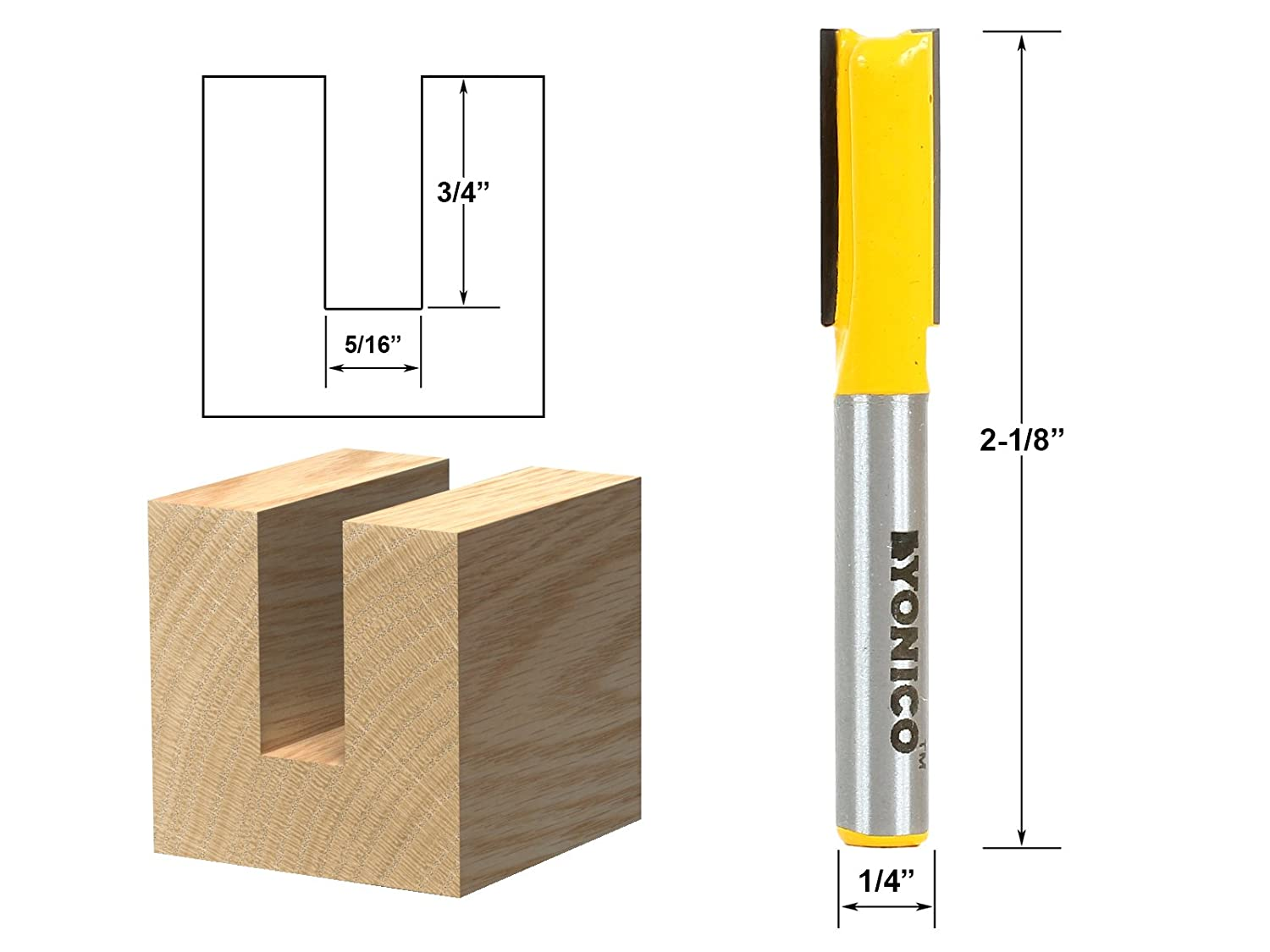 Yonico 14025 1//2-Inch Diameter X 1-Inch Height Straight Router Bit 1//2-Inch Shank