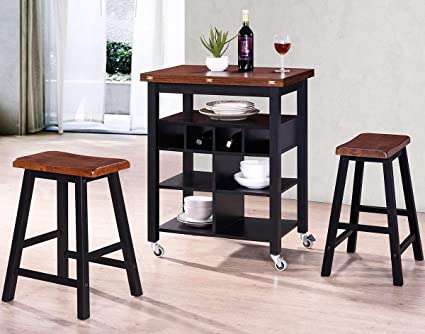 Bar Table And 2 Stools Set,JULYFOX Wood Counter Height Rectangle Pub Table  Dinning Set