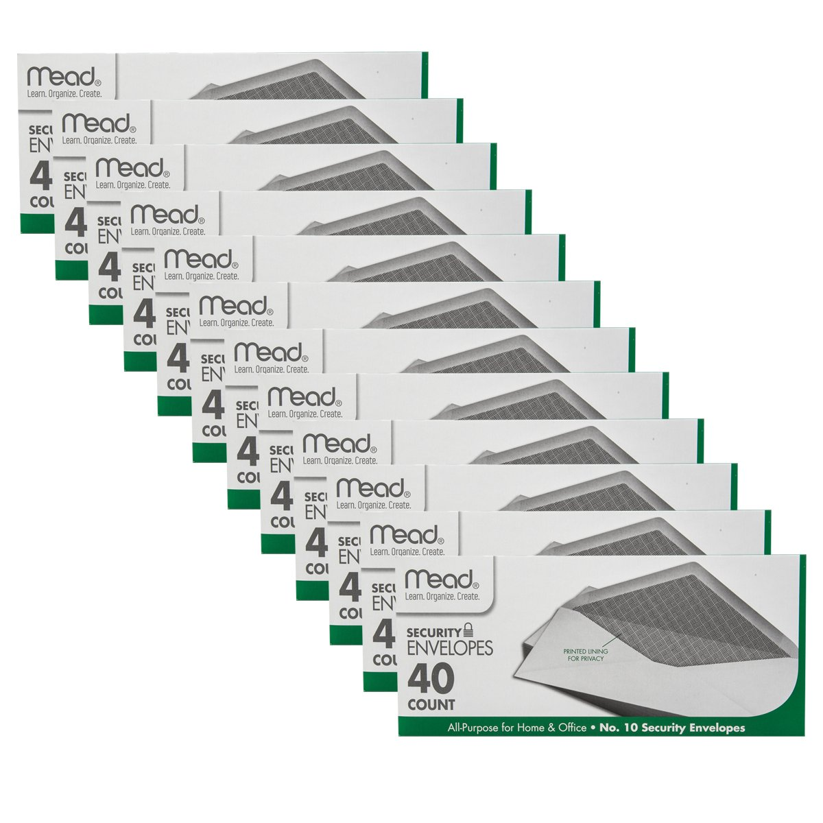 "Mead 40ct No. 10 Security Envelopes Bulk Lot White Office Home 4 1/8"" x 9 1/2"""