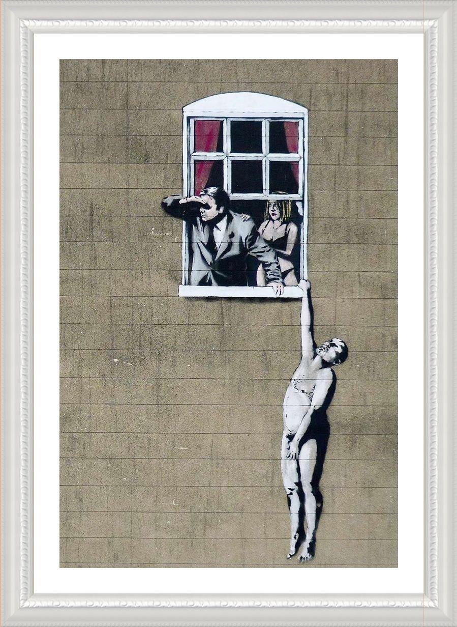 Alonline Art - Naked Man Hanging from Window Banksy White Framed Poster (Print on 100% Cotton Canvas on Foam Board) - Ready to Hang | 21''x29'' | Giclee Frame Framed Art Framed Artwork Framed Paints