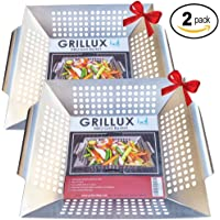 Grillux 2 x Vegetable Grill Basket by BBQ Gift Accessories for Grilling Veggies - Use as Wok, Pan, or Smoker - Quality Stainless Steel - Camping Cookware - Charcoal or Gas Grills OK