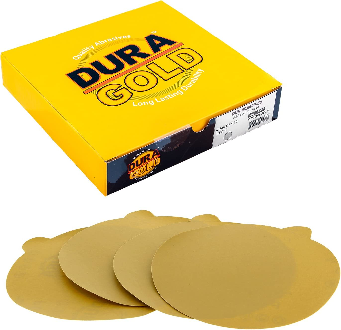 Box of 10 60 Grit High-Performance Fast Cutting Aluminum Oxide Abrasive Dura-Gold Premium 9 Drywall Sanding Discs - Sandpaper Discs with PSA Self Adhesive Stickyback For Drywall Power Sander