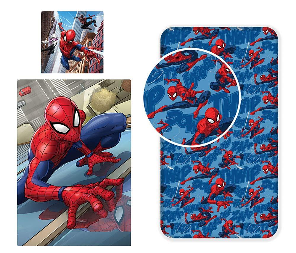 LesAccessoires Spiderman Parure de lit 3 piè ces - Housse de Couette 140x200cm + Taie d'oreiller 63x63cm + Drap-House 90x200cm