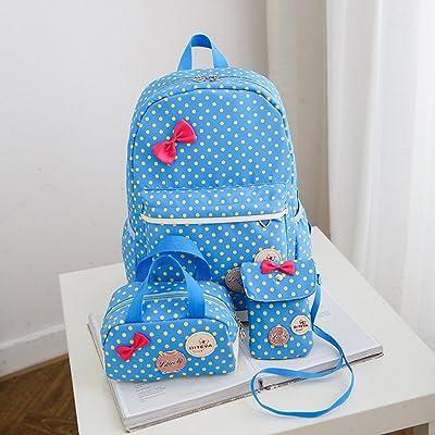 Fashion 3 Pcs/Set Children Lightweight Backpacks Cute Large Capacity School Rucksack Book Schoolbag For Girls Teenagers (Blue)