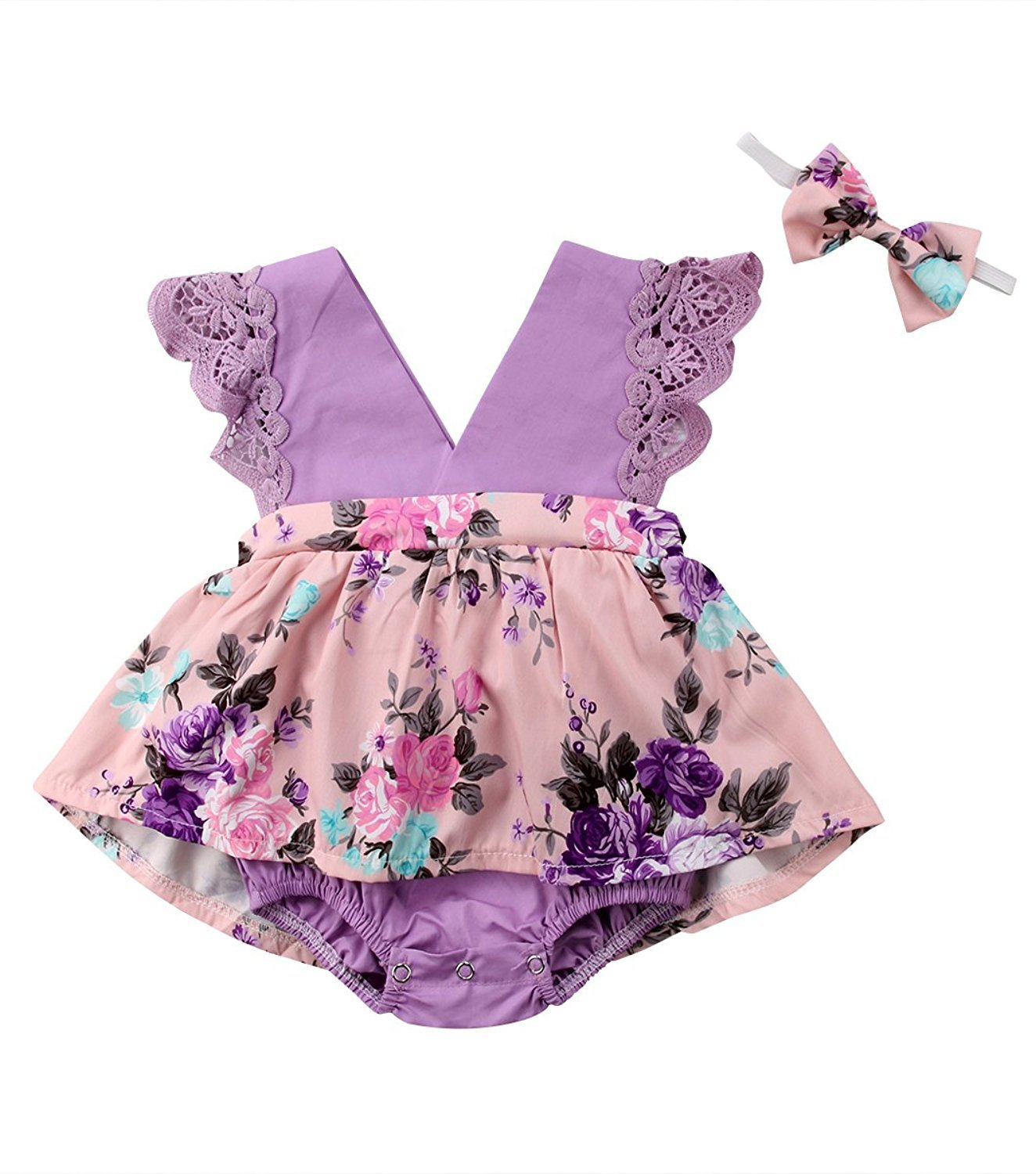 HappyMA Toddler Baby Girl Clothes Floral Dress Lace Ruffle Sleeveless Backless Skirt with Headband 2Pcs Outfit (Purple, 12-18 Months) by HappyMA (Image #1)