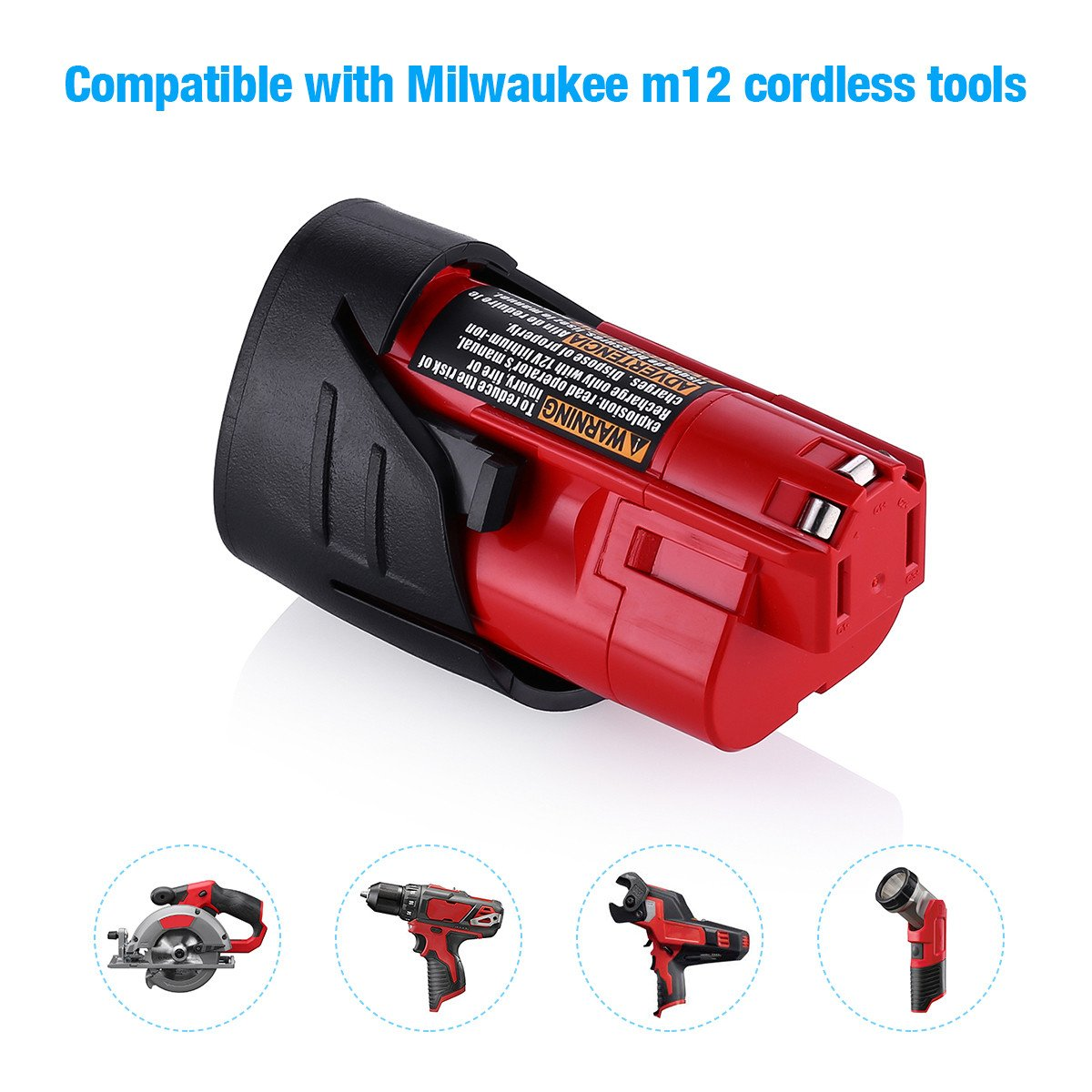 Powerextra 2 Pack 12V 2500mAh Lithium-ion Replacement Battery Compatible with Milwaukee M12 Milwaukee 48-11-2411 REDLITHIUM 12-Volt Cordless Milwaukee Tools Milwaukee 12V Battery Lithium-ion by Powerextra (Image #3)