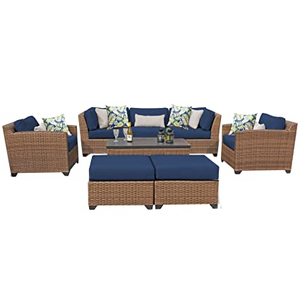 TK Classics LAGUNA 08c NAVY Laguna 8 Piece Outdoor Wicker Patio Furniture  Set,