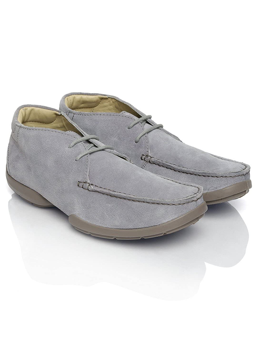 Woodland Men Grey Leather Casual Shoes