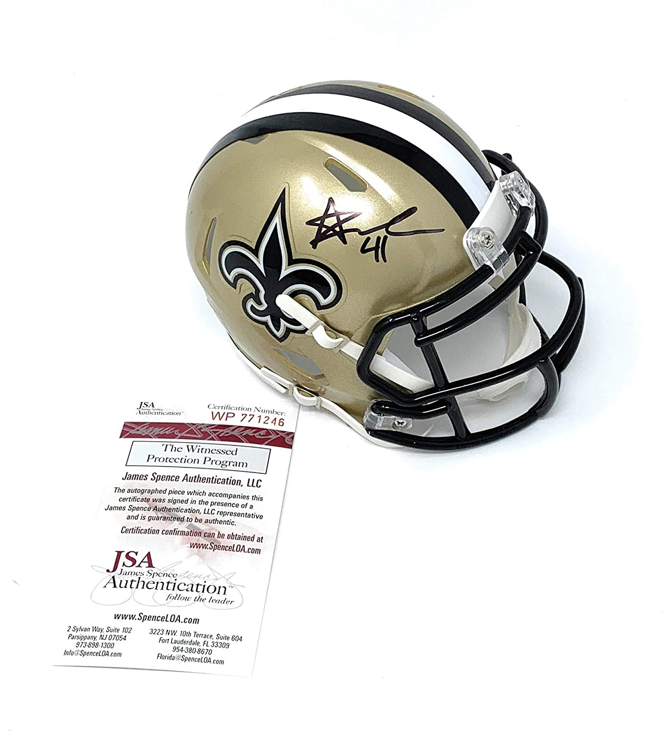 Alvin Kamara New Orleans Saints Signed Autograph Speed Mini Helmet JSA Certified