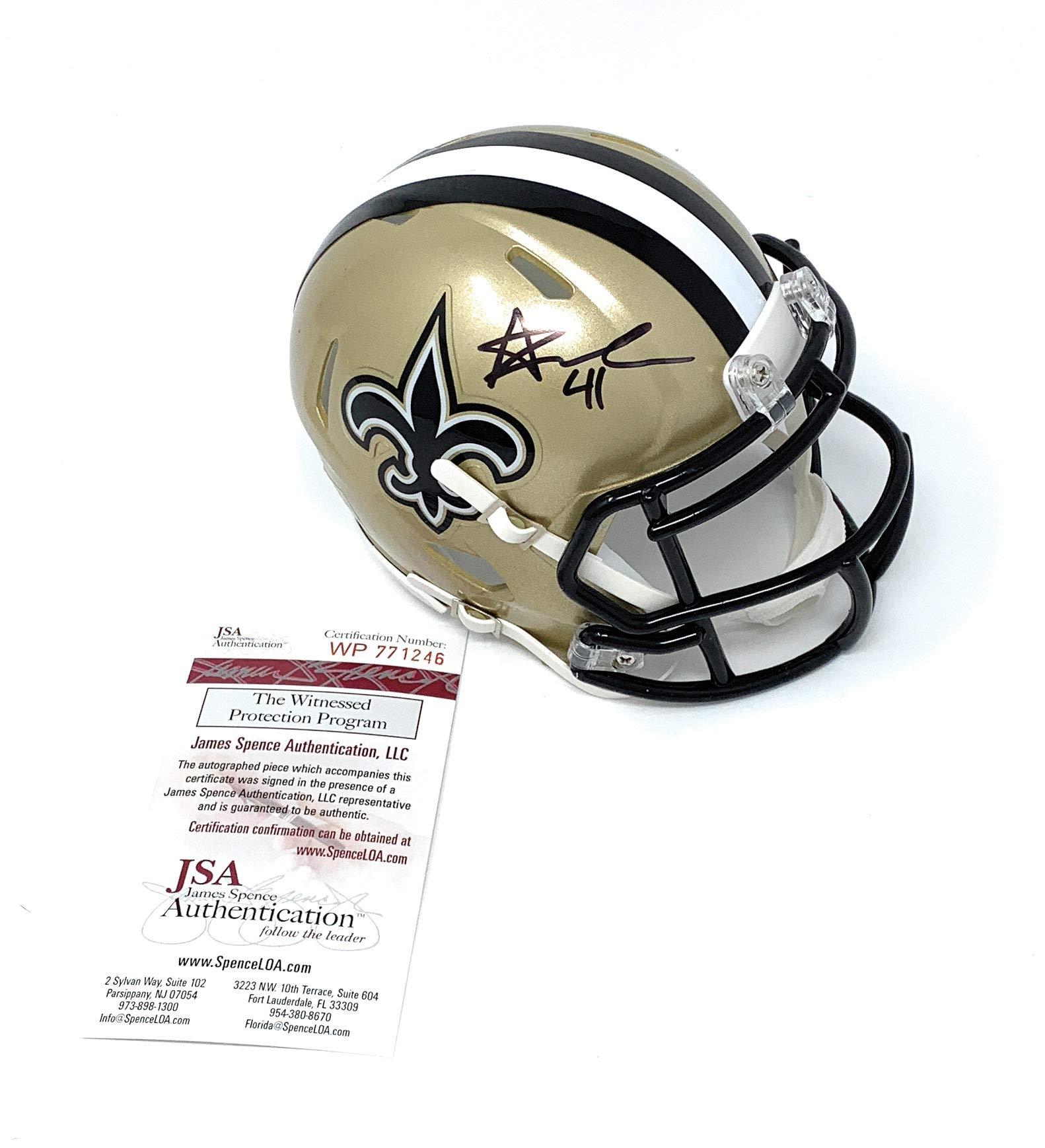 Alvin Kamara New Orleans Saints Signed Autograph Speed Mini Helmet JSA Certified