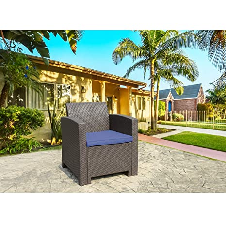 Phenomenal Thplus Patio Resin Plastic Rattan Pattern Furniture Outdoor Garden Single Sofa Armchair Outdoor Chair Brown With Blue Cushion Squirreltailoven Fun Painted Chair Ideas Images Squirreltailovenorg
