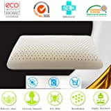 Latex Pillows Foam Anti Snore Deep Sleep Mite Allergic Luxurious Comfort Massage Natural with Ventilated Filler Contoured Medium Outside Travel Beding For Neck Pain 100% (Standard) By HAIPAI
