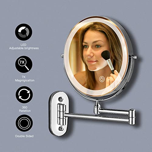 LONGBRITE Double Sided LED Makeup Mirror 8 inch with 7X Magnification LED Touch Dimming Bathroom Mirrors Wall Mounted 360 Swivel Extending Folding for Hotel Vanity Battery Operated