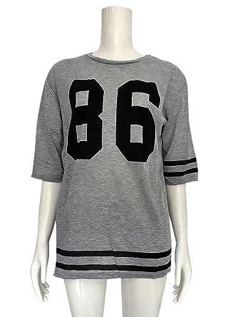 d19248dfc4056 COCO clothing Anchas Camisetas de Mujer Números Cuello Redondo Casual Blusa  de Quinta Manga Chica Top Sweatshirt College Sport Sudaderas  Amazon.es   Ropa y ...