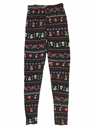 Junior Womens Gray Reindeer & Snowman Fleece Lined Christmas ...