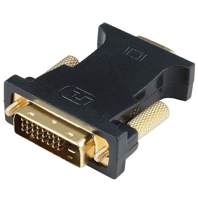 HYZUO DVI auf VGA Adapter Aktiv DVI-D Dual Link 24 + 1 Stecker auf VGA Buchse Chip Kabel Konverter für PC DVD Monitor HDTV Pr