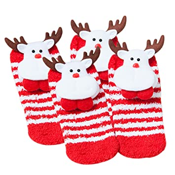 Calcetines de Navidad, Fascigirl Calcetines Calientes de 2 pares Calcetines de Dibujos Animados de Santa Christmas Tree de Elk para Adultos y Bebés: ...